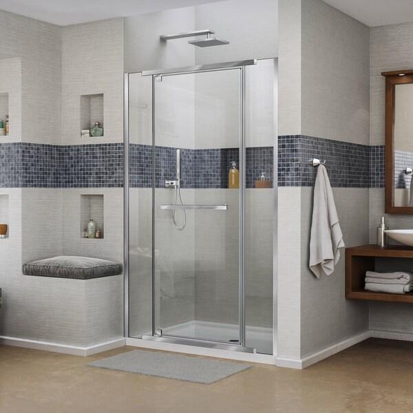 DreamLine Vitreo-X Frameless Pivot Shower Door and SlimLine 36 in. by 48 in. Single Threshold Shower Base