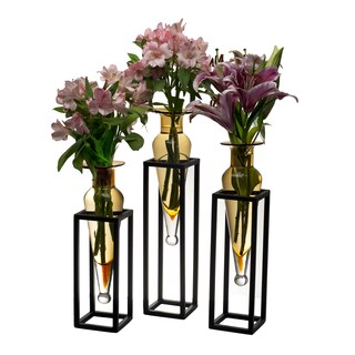 Set of 3 Amber Amphorae Vases on Square Tubing Metal Stands