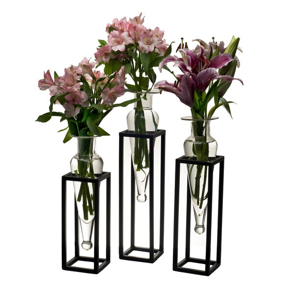Set of 3 Clear Amphorae Vases on Square Tubing Metal Stands. Opens flyout.