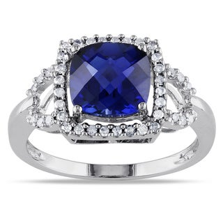 Miadora 10k White Gold Sapphire and 1/5ct TDW Diamond Ring (G-H, I1-I2)