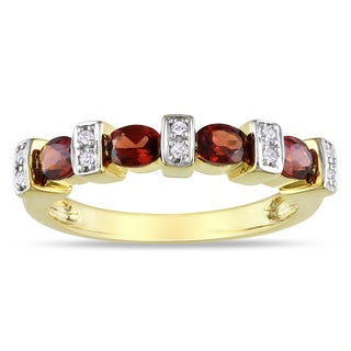 Miadora Yellow Plated Silver 1ct TGW Garnet and Diamond Ring