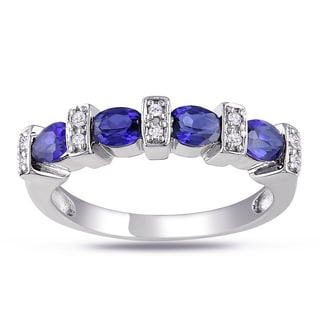 Miadora Sterling Silver Created Sapphire and Diamond Ring