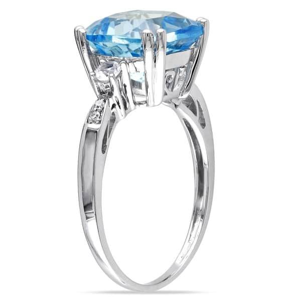 Shop Miadora 10k White Gold Blue Topaz Created White Sapphire And Diamond Ring On Sale Overstock 8281075