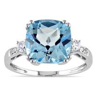 Miadora 10k White Gold Blue Topaz, Created White Sapphire and Diamond Ring