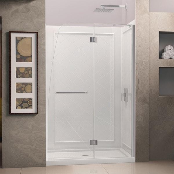 DreamLine Aqua Frameless Hinged Shower Door and SlimLine 30 in. by 60 in. Single Threshold Shower Base. Opens flyout.