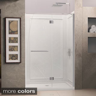 DreamLine Aqua Frameless Hinged Shower Door and SlimLine 30 x 60-inch Single Threshold Shower Base