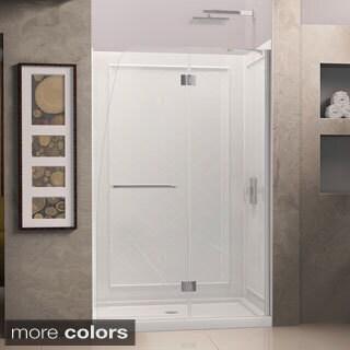 DreamLine Aqua Frameless Hinged Shower Door and SlimLine 32 x 60-inch Single Threshold Shower Base
