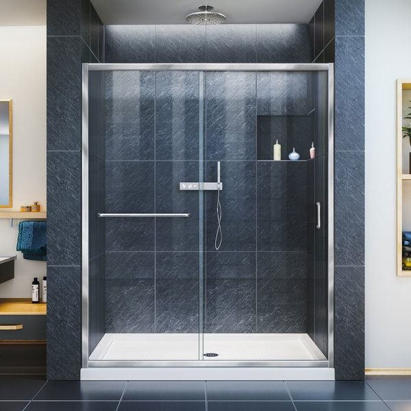 Frameless Sliding Shower Doors dreamline infinity-z frameless sliding shower door and slimline 32