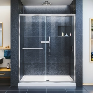 "Link to DreamLine Infinity-Z 34 in. D x 60 in. W x 74 3/4 in. H Sliding Shower Door and Shower Base Kit - 34"" x 60"" - 34"" x 60"" Similar Items in Showers"