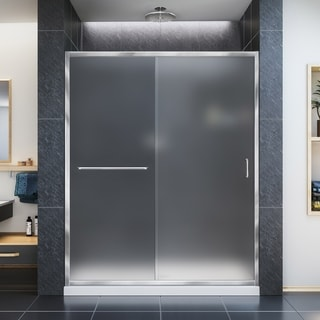 DreamLine Infinity-Z 36 in. D x 60 in. W x 74 3/4 in. H Sliding Shower Door and Shower Base Kit, Frosted Glass