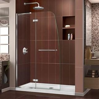 DreamLine Aqua Ultra Frameless Hinged Shower Door and SlimLine 30 in. by 60 in. Single Threshold Shower Base