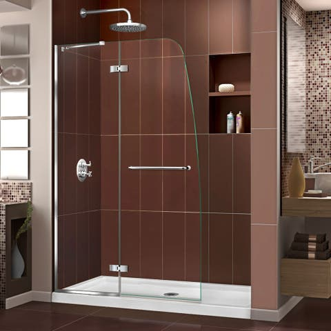 "DreamLine Aqua Ultra 32 in. D x 60 in. W x 74 3/4 in. H Hinged Shower Door and Shower Base Kit - 32"" x 60"""