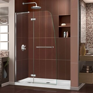 DreamLine Aqua Ultra Frameless Hinged Shower Door and SlimLine 32 in. by 60 in. Single Threshold Shower Base (More options available)