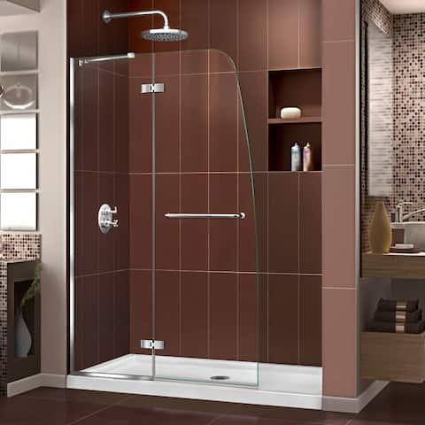 DreamLine Aqua Ultra 36 in. D x 48 in. W x 74 3/4 in. H Frameless Hinged Shower Door and SlimLine Shower Base Kit