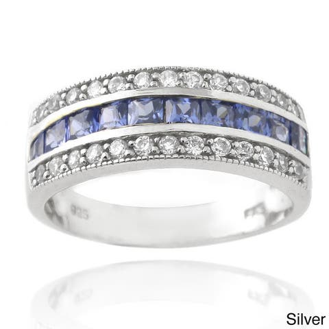 Icz Stonez Sterling Silver Blue Cubic Zirconia Band Ring