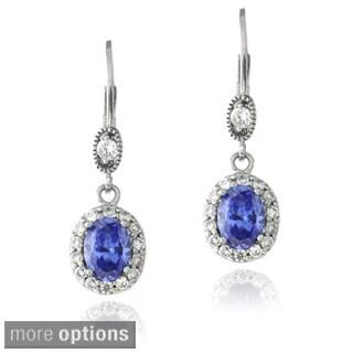 Icz Stonez Sterling Silver Blue Cubic Zirconia Oval Dangle Earrings