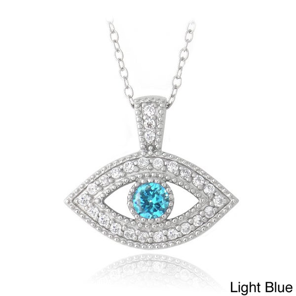 Icz Stonez Sterling Silver Blue And Clear Cubic Zirconia Evil Eye Necklace