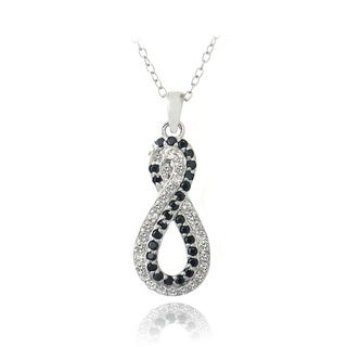 Glitzy Rocks Sterling Silver Black Spinel & White Topaz Infinity Necklace