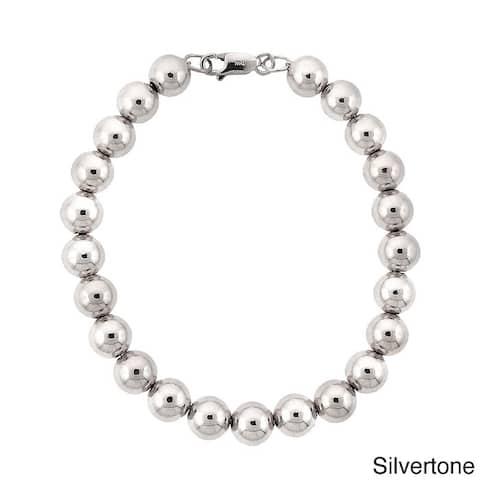 Mondevio Rhodium-plated 8mm Beaded Bracelet