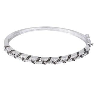 DB Designs Silvertone Black Diamond Accent Bangle