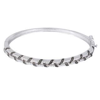 DB Designs Silvertone Black Diamond Accent Bangle