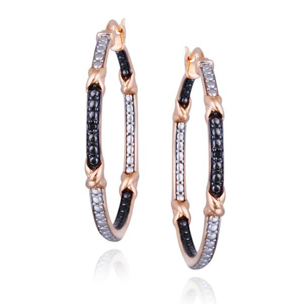 DB Designs Rose Gold And Black Diamond Hoop Earrings