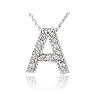 Link to Icz Stonez Sterling Silver Cubic Zirconia Block Letter Initial Necklace Similar Items in Necklaces