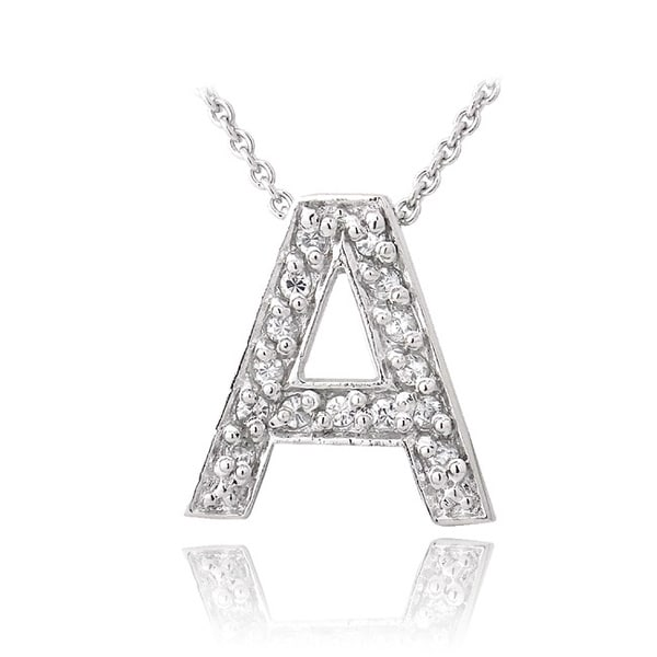 Icz Stonez Sterling Silver Cubic Zirconia Block Letter Initial Necklace. Opens flyout.