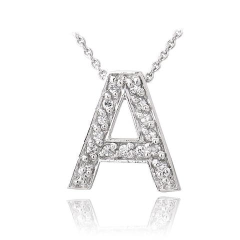 Icz Stonez Sterling Silver Cubic Zirconia Block Letter Initial Necklace