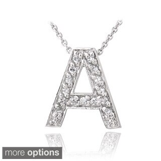 Icz Stonez Sterling Silver Cubic Zirconia Block Letter Initial Necklace (More options available)