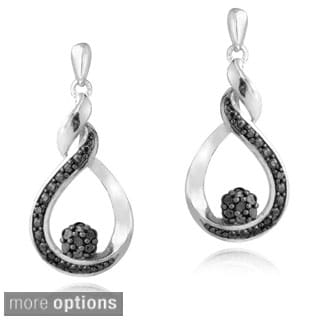 DB Designs Sterling Silver Diamond Twisted Teardrop Dangle Earrings
