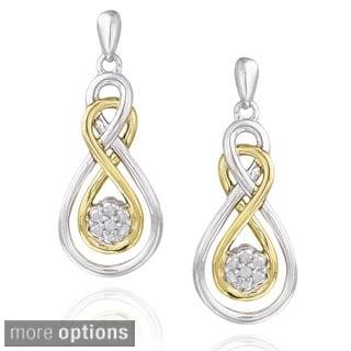 DB Designs Two-tone Sterling Silver Diamond Twisted Teardrop Dangle Earrings