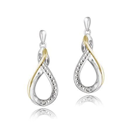 DB Designs Sterling Silver Diamond Accent Twisted Teardrop Dangle Earrings
