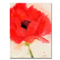 Shelia Golden 'Green Poppy' Canvas Art - Multi