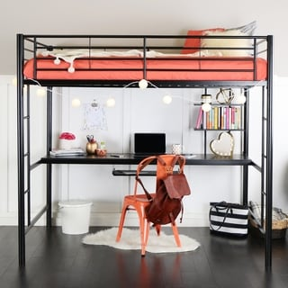 Full Metal Black Loft Bed with Work Space