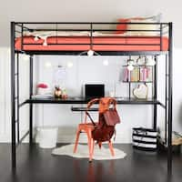 Full Metal Black Loft Bed with Desk