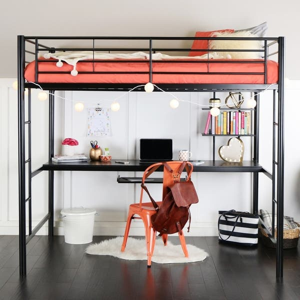 Shop Full Metal Black Loft Bed with Work Space - On Sale ...