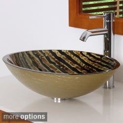 Elite Modern Oval Design Tempered Glass Bathroom Vessel Sink with Faucet Combo