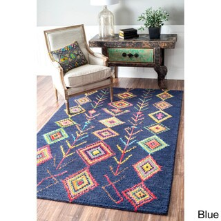 nuLOOM Contemporary Hand Tufted Wool Moroccan Triangle Rug (5' x 8')