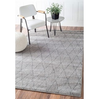 nuLOOM Modern Moroccan Trellis Lattice Grey Rug (8' x 10')