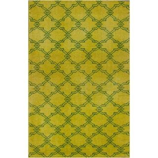 nuLOOM Hand-knotted Moroccan Trellis Yellow Wool Rug (4' x 6')