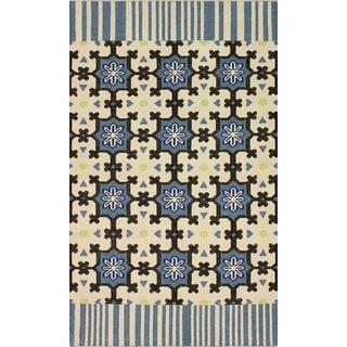 nuLOOM Handmade Trellis Flat Weave Blue Wool Rug (6' x 9')