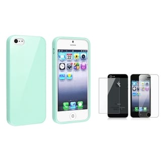 INSTEN Mint Green Jelly Phone Case Cover/ LCD Protector Set for Apple iPhone 5/ 5S