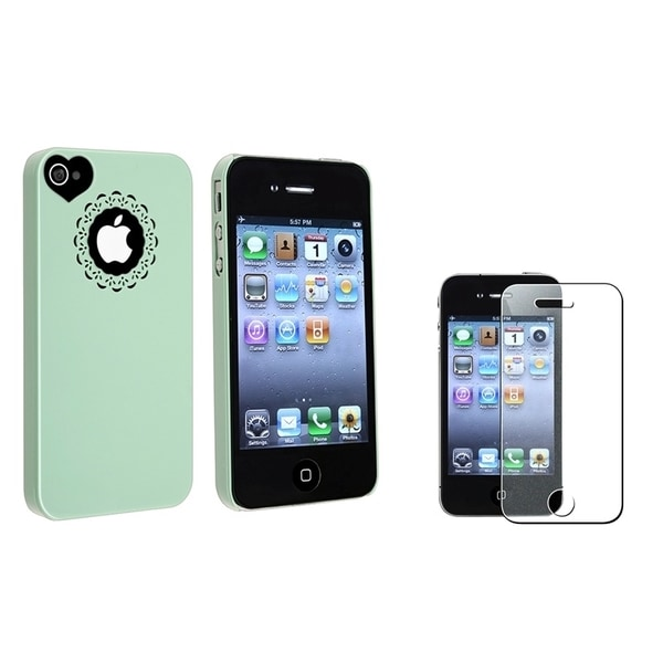 INSTEN Mint Green Phone Case Cover/ LCD Protector for Apple iPhone 4/ 4S