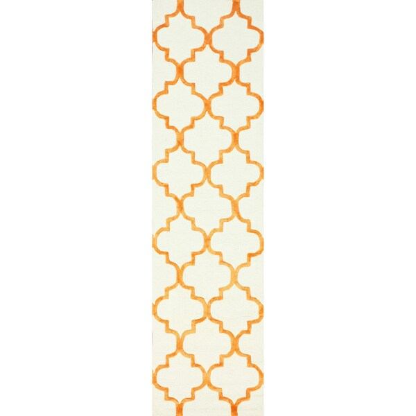 nuLOOM Handmade Moroccan Trellis Faux Silk Wool Runner Rug (2'6 x 10') - 2'6 x 10'