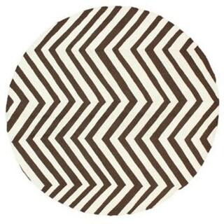 nuLOOM Handmade Alexa Chevron Brown Wool Round Rug (6' Round)