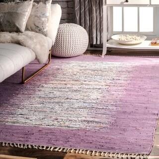 nuLOOM Handmade Mona Kilim Flatweave Lavender Rug (8' x 10')