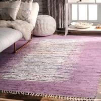 nuLOOM Handmade Mona Kilim Flatweave Lavender Rug (8' x 10') - 8' x 10'