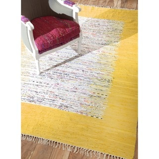 nuLOOM Handmade Mona Kilim Flatweave Gold Cotton Rug (8' x 10')