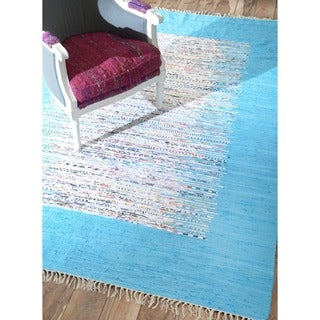 nuLOOM Handmade Abstract Border Flatweave Cotton Rug (8' x 10')